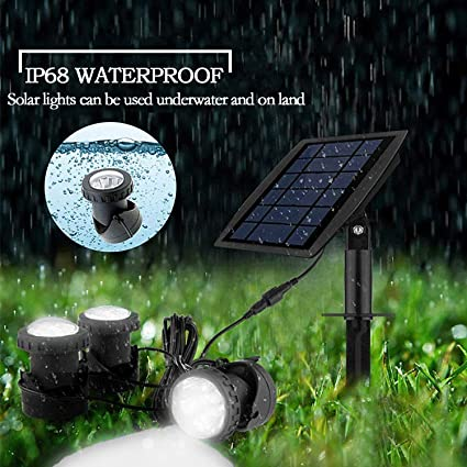 FEIFEIER Weatherproof Solar Powered Pure White Color LED Landscape Spotlight 3 Lamps Adjustable Lighting Angle Bright Security Lighting for Garden Pool Pond Outdoor Decoration FBFJH0360
