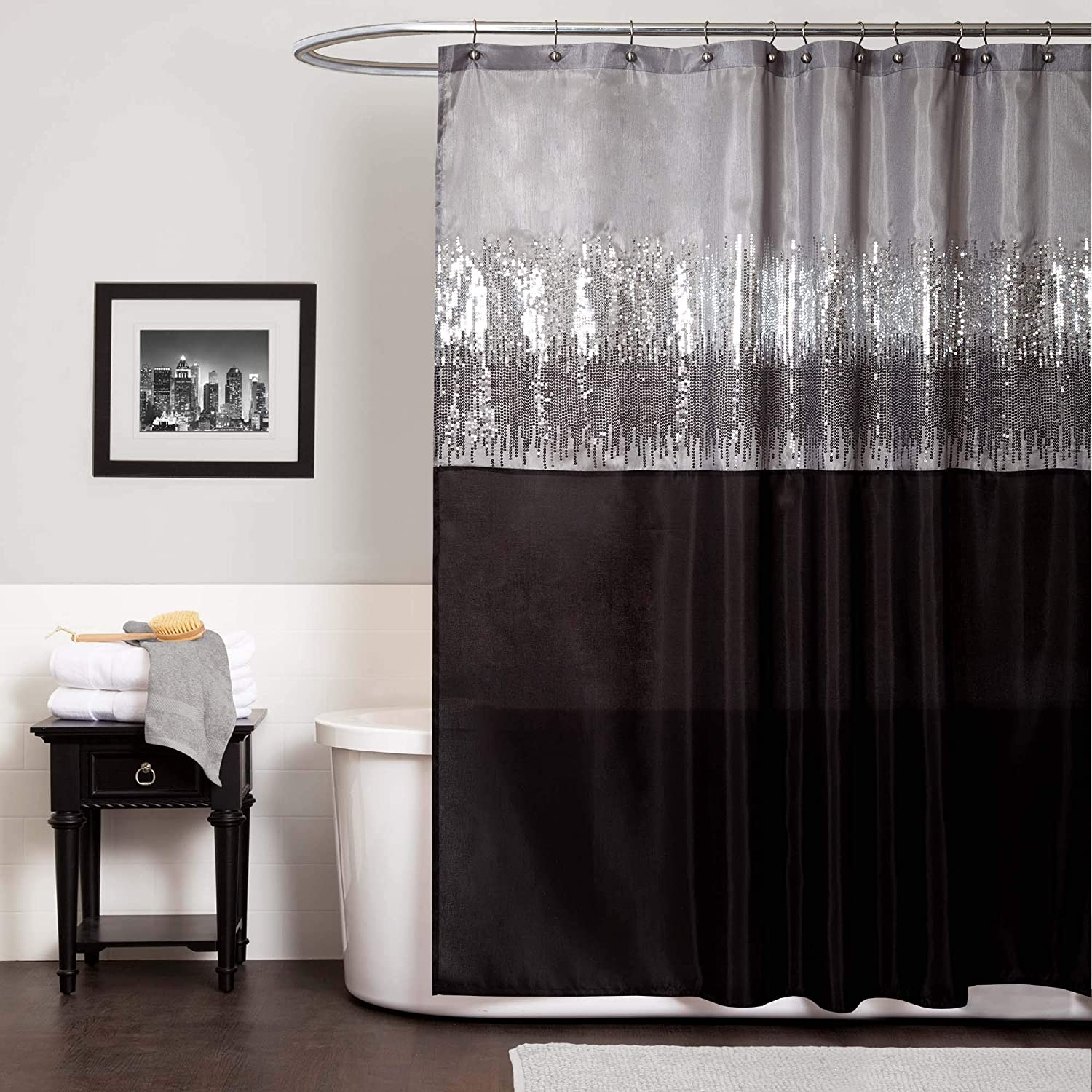 """Black and White x 72/"""" Sequin Fabric Shimmery Color Block Design for Bathroom Lush Decor Night Sky Shower Curtain"""