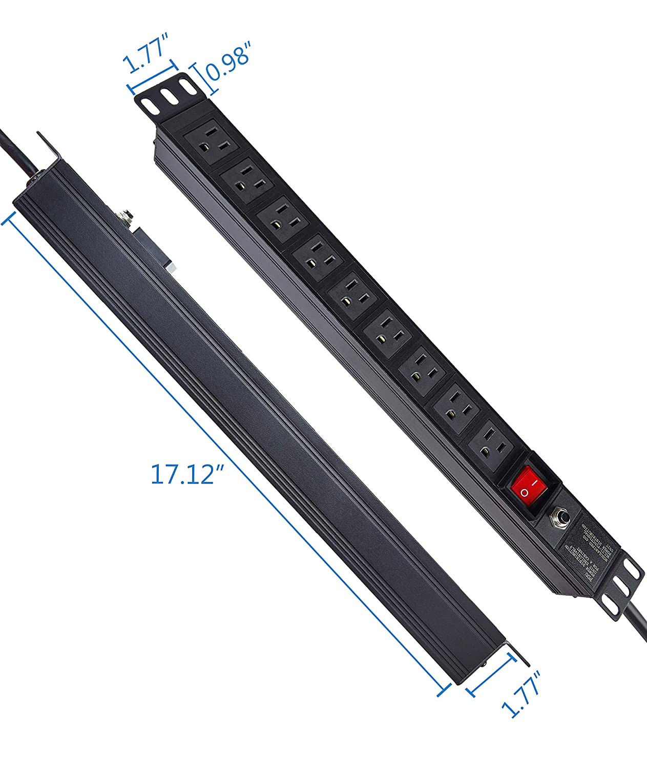 Industrial 1U//15A//110V Kungfuking 9 Outlets Power Strip Rack Mount PDU Outlet Strip Server Rack Mount Electrical Outlet with 6 FT Power Cord for Commercial School and Home