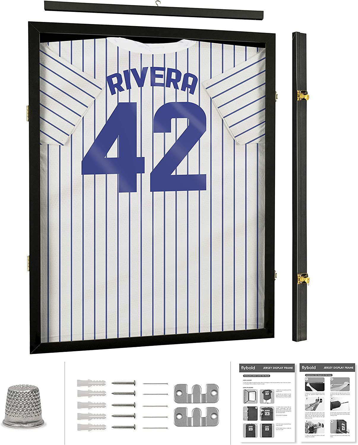 Jersey Display Frame Case Large Frames Shadow Box Lockable with UV Protection Acrylic Hanger and Wall Mount Option for Baseball Basketball Football Soccer Hockey Sport Shirt Black Finish