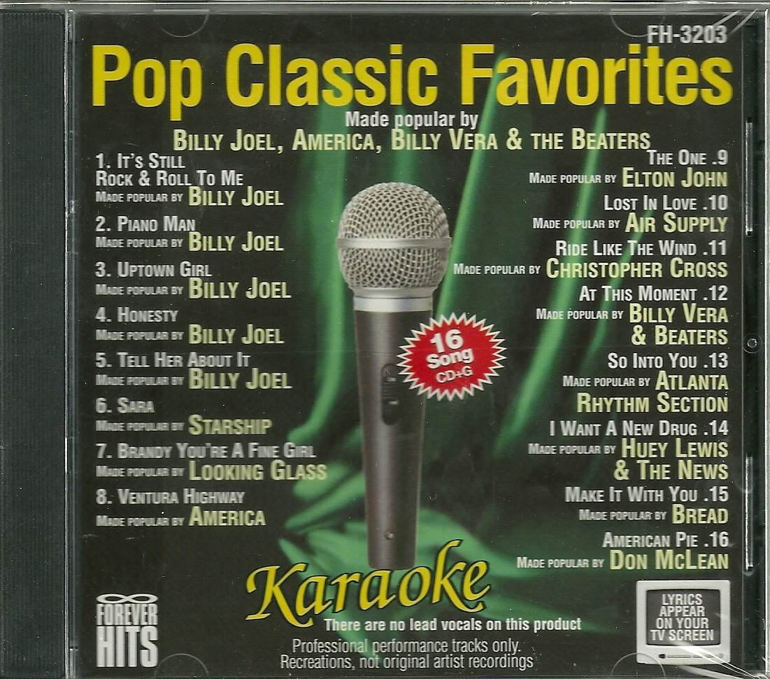 FOREVER HITS Karaoke POP CLASSIC FAVORITES FH-3203 CDG 16 Songs by