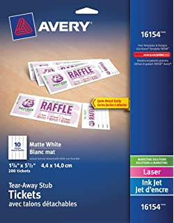 avery tickets with tear away stubs 1 75 inches x 5 5 inches matte