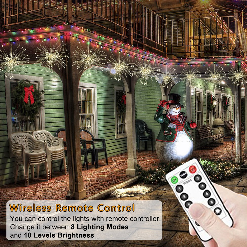 Blanco C/álido Patio Al Aire Libre Luz Cadena para Jard/ín Colgando Fuegos Artificiales Luces de Hadas 200 LED Fiesta Control Remoto Inal/ámbrico IP65 a Prueba de Agua Luz Alambre Cobre