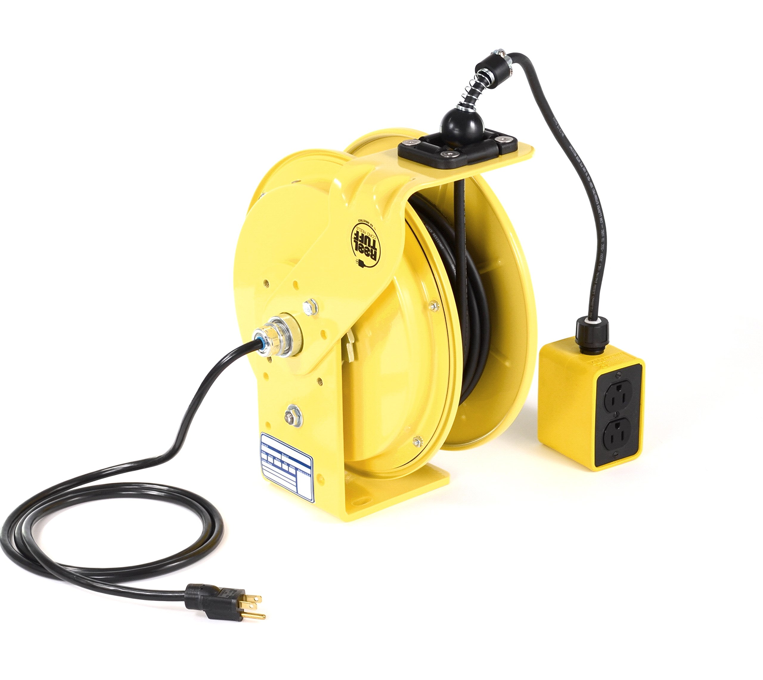 KH Industries RTB Series ReelTuff Industrial Grade Retractable Power Cord Reel with Black Cable, 16/3 SJOW Cable Prewired with Four Receptacle Outlet Box, 15 Amp, 50' Length, Yellow Powder Coat Finish