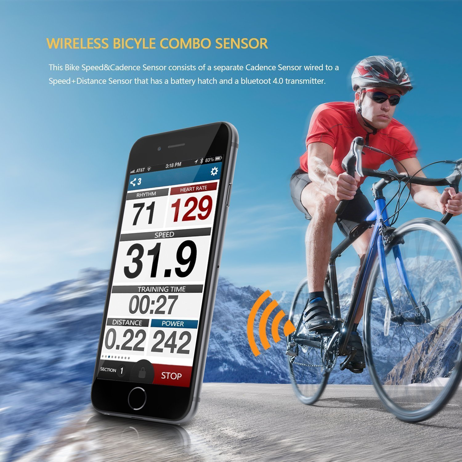 Onlydroid Bike Speed Cadence Sensor, Wireless Bluetooth ANT+ Fitness Tracker Speedmeter for iPhone iPad Wahoo Fitness Strava MapMyRide by Onlydroid (Image #7)