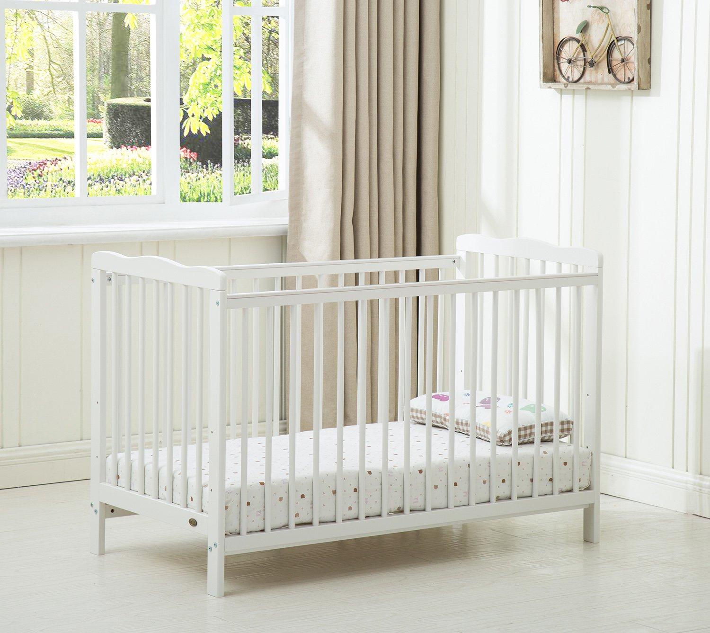 Mcc/® Brooklyn Colore Bianco Lettino per Bambini con Materasso Idrorepellente Lettino con Sponde Letto in Legno