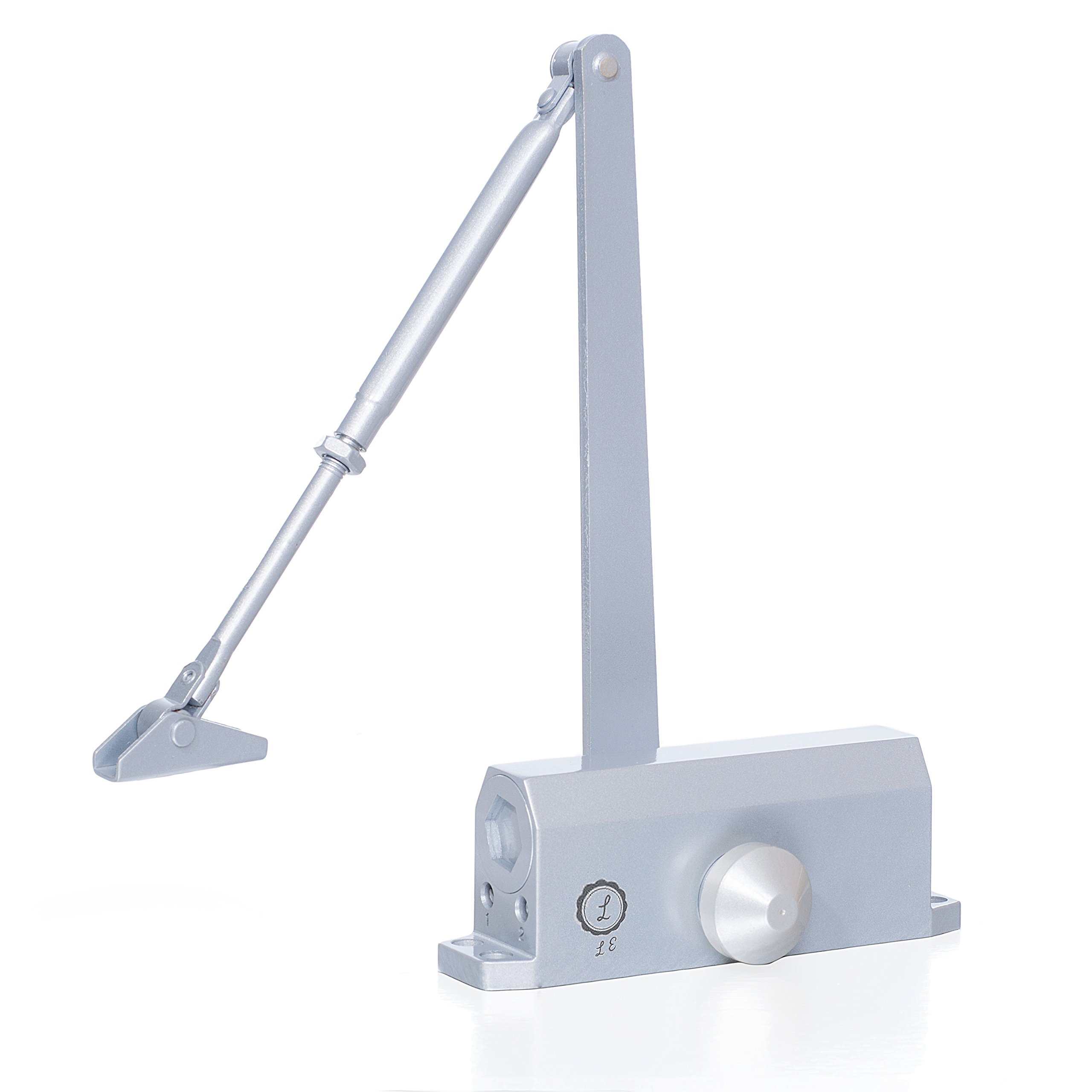Commercial grade Door Closer, Heavy Duty aluminum automatic door closer, Hydraulic Arm, Non-handed -slowly closes- Variable latch speeds. Size 4 spring for doors up to 150 lbs by Life Essentials!