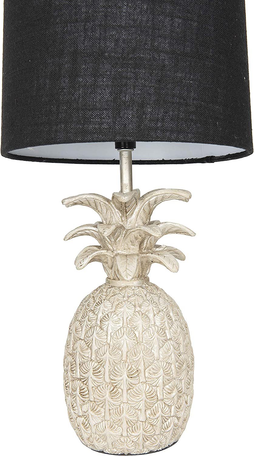 Creative Co-op Pineapple Shaped Table Lamp with Distressed Gold Finish & Linen Shade White