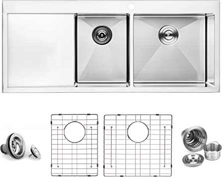 Bai 1234 Stainless Steel 16 Gauge Kitchen Sink Handmade 48 Inch Top Mount Double Bowl With Drainboard Amazon Com