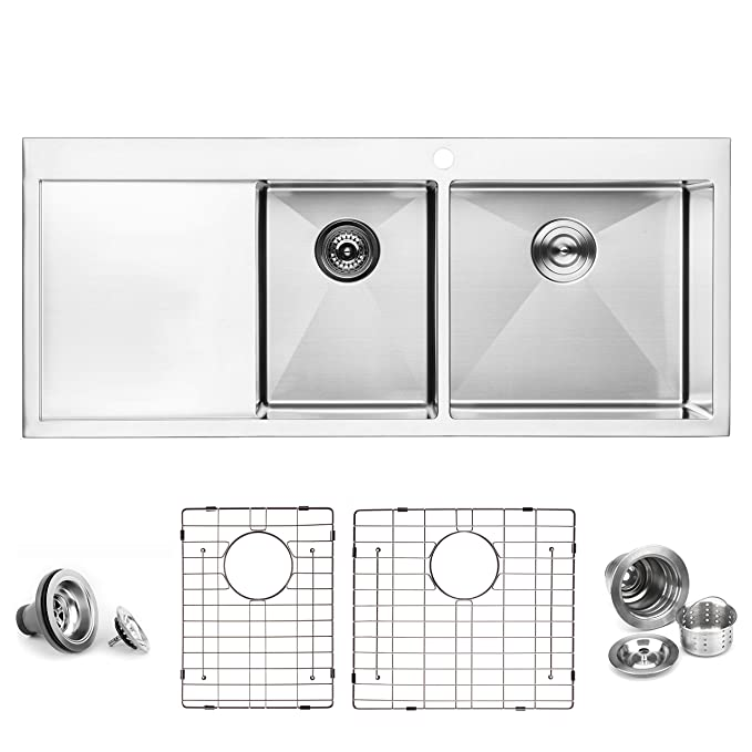 bai 1234 48 handmade stainless steel kitchen sink double bowl with rh amazon com 48 Inch Bathroom Vanity with Top 48 Farmhouse Sink
