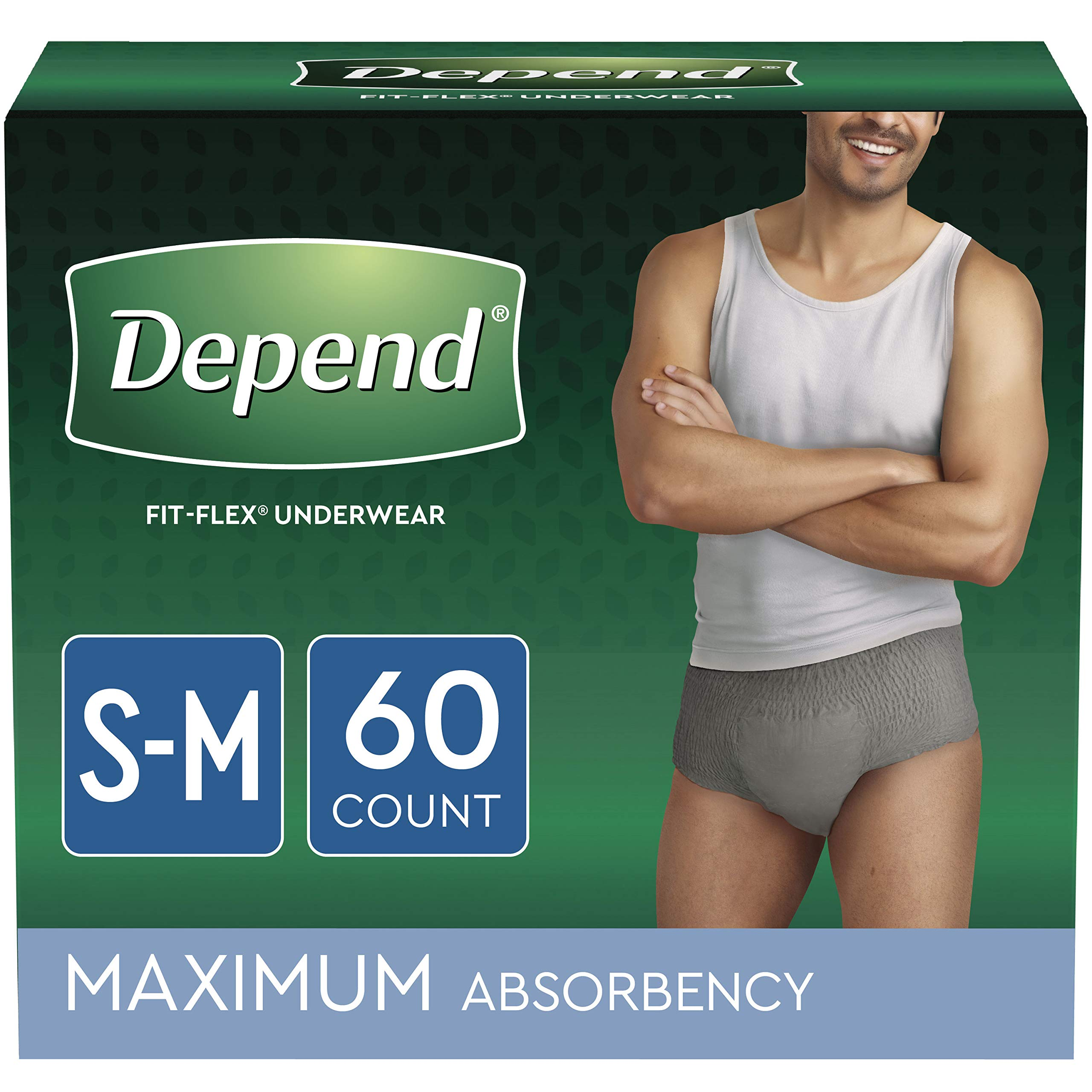 Depend FIT-FLEX Incontinence Underwear for Men, Maximum Absorbency, Disposable, Small/Medium, Grey, 60 Count by Depend