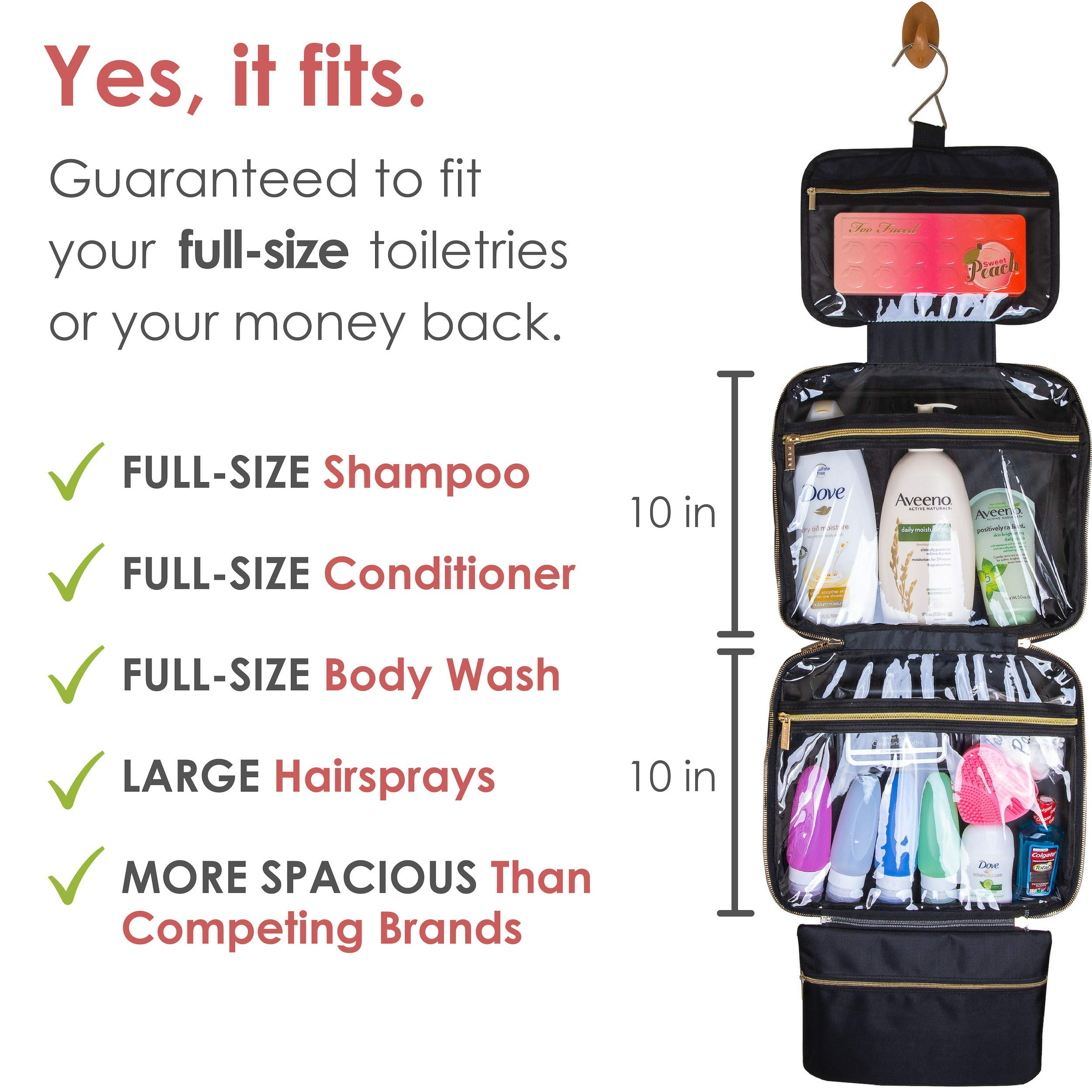 habe XL Hanging Travel Toiletry Bag | 4 BONUS Travel Bottles | Fits FULL SIZE Toiletries | Travel Makeup Bag | EXTRA LARGE Cosmetic Bags Organizer for Women | 3-IN-1 Bathroom, Make Up and Shower Kit by häbe (Image #3)
