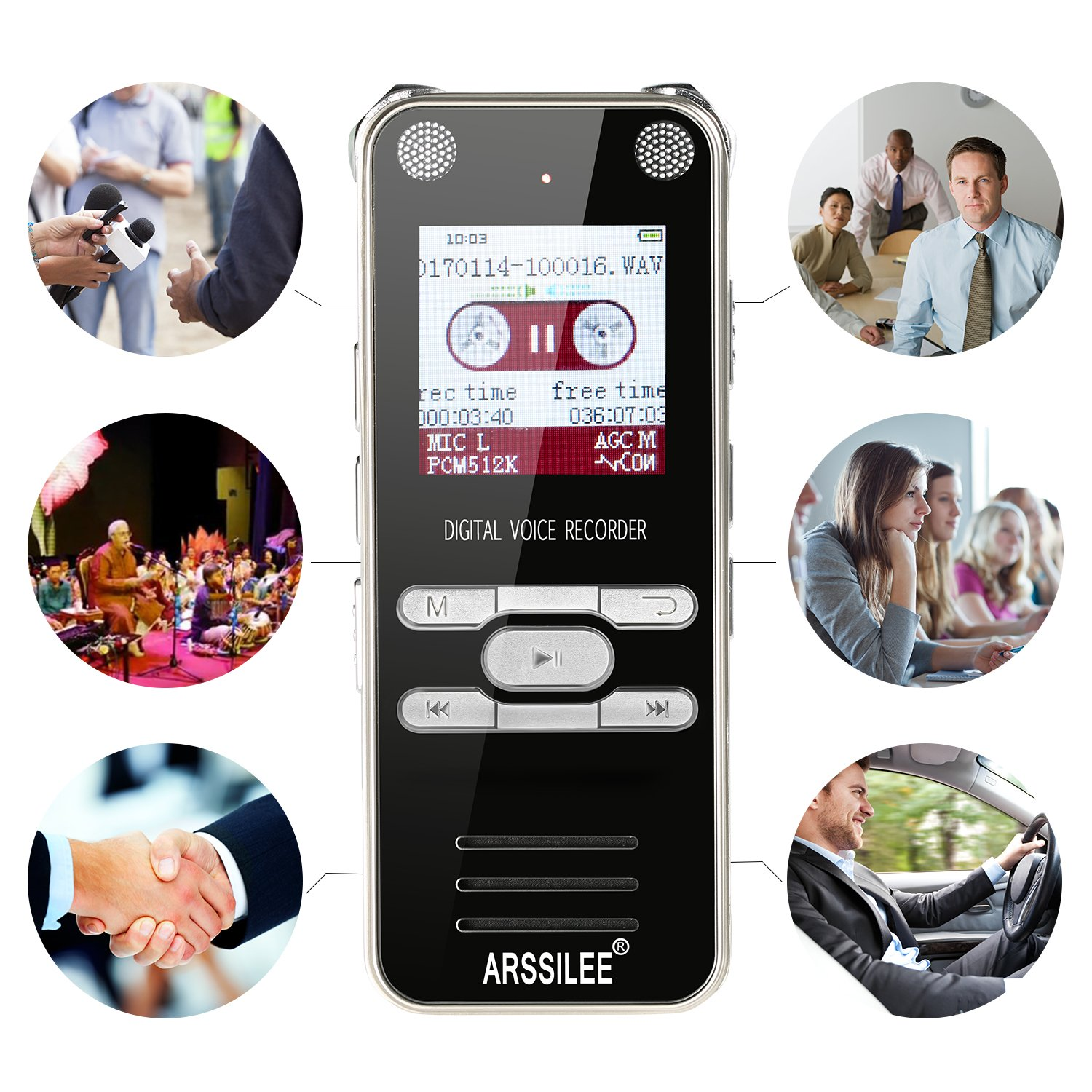 Digital Voice Recorder Pen, Pocket Audio Recorder 8GB Miniature Sound Recorder 1536KB PCM HD, Portable Mp3 Player Voice Recorder For Meetings,Lectures, Interview, By-Arssilee