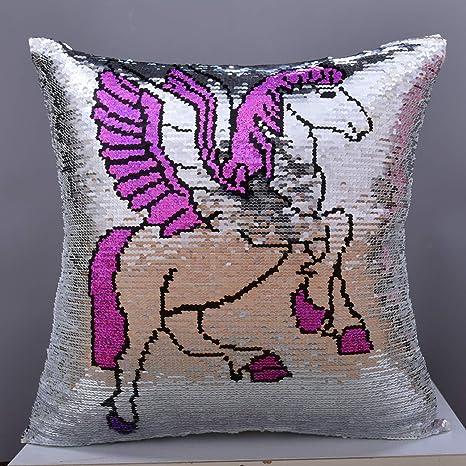 Amazon.com: Leegleri Unicornio lentejuelas funda de almohada ...