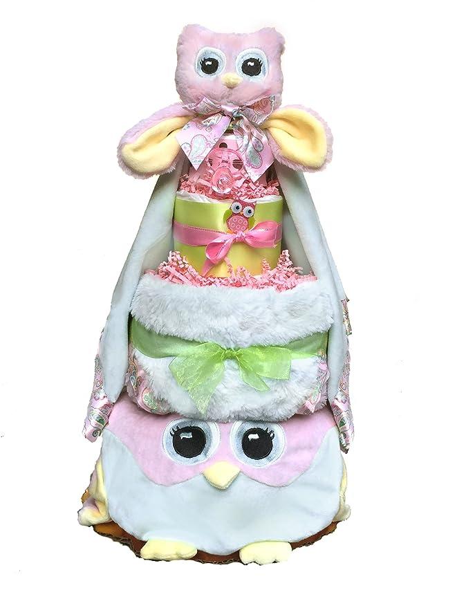 Unique Diaper Cake Baby Girl Baby Boy Owl Diaper Cake Unique Baby Shower Gift Hospital Gift Neutral Gift OOAK Baby Gifts