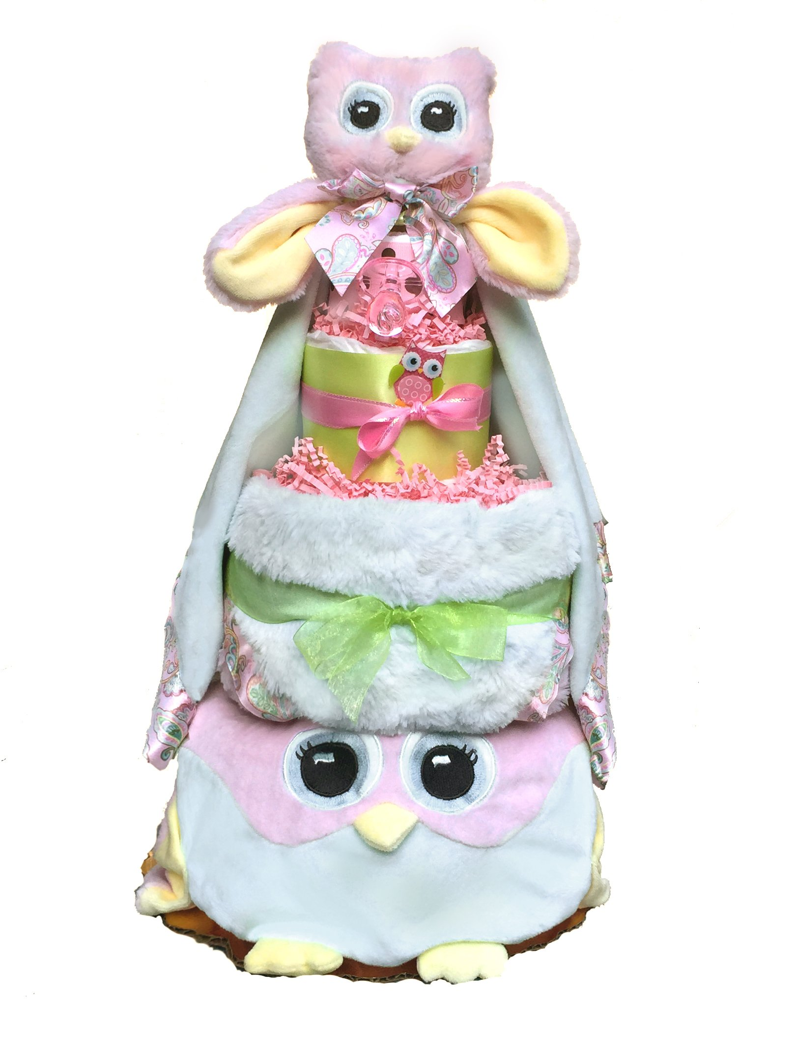 Owl Diaper Cake-cute Baby Girl Gift for Baby Shower-Pink Diaper Cake Makes a Perfect Baby Gift Basket