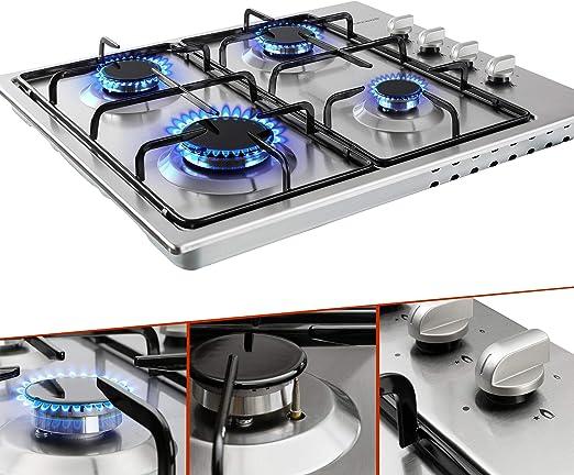 Cocina de gas de acero inoxidable | 4 fuegos | para gas natural