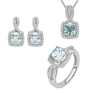 054d4d5a7 Image Unavailable. Image not available for. Color: Topaz and Diamond Accent  Ensemble 3 Piece Jewelry Set