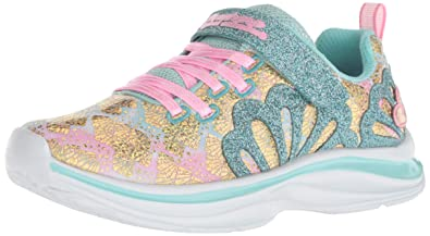 b91de5ee3d09 Skechers Kids Girls  Double Dreams-Mermaid Muse Sneaker Aqua Pink 1 Medium  US