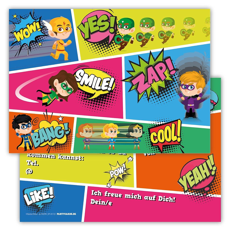 12 Lustige Einladungskarten im Set für Kindergeburtstag Party mit ...