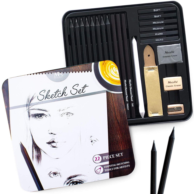 set 22 piezas para dibujo sketching premium MozArt Supplies