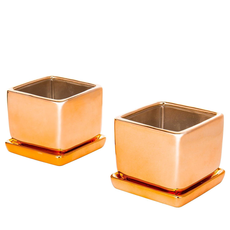 MyGift Lot de 2/carr/é 10,2/cm Couleur or rose Mini pots de fleurs en c/éramique avec plateaux
