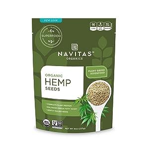 Navitas Organics Raw Hemp Seeds, 8 oz. Bag,15 Servings — Organic, Non-GMO, Low Temp-Hulled, Gluten-Free (Pack of 2)