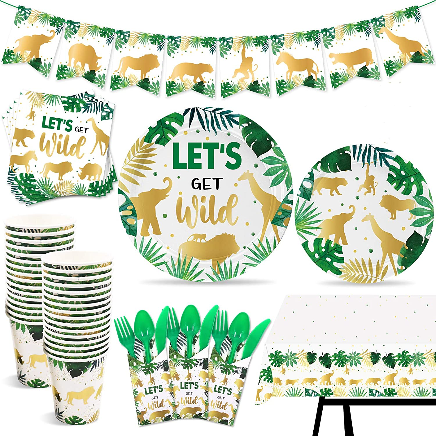 Golden Jungle Animal Cup and Tray Kit Safari Animal Party Supplies Party Dinnerware and Supplies Birthday Party Tableware Set Serves 20 162 Pieces