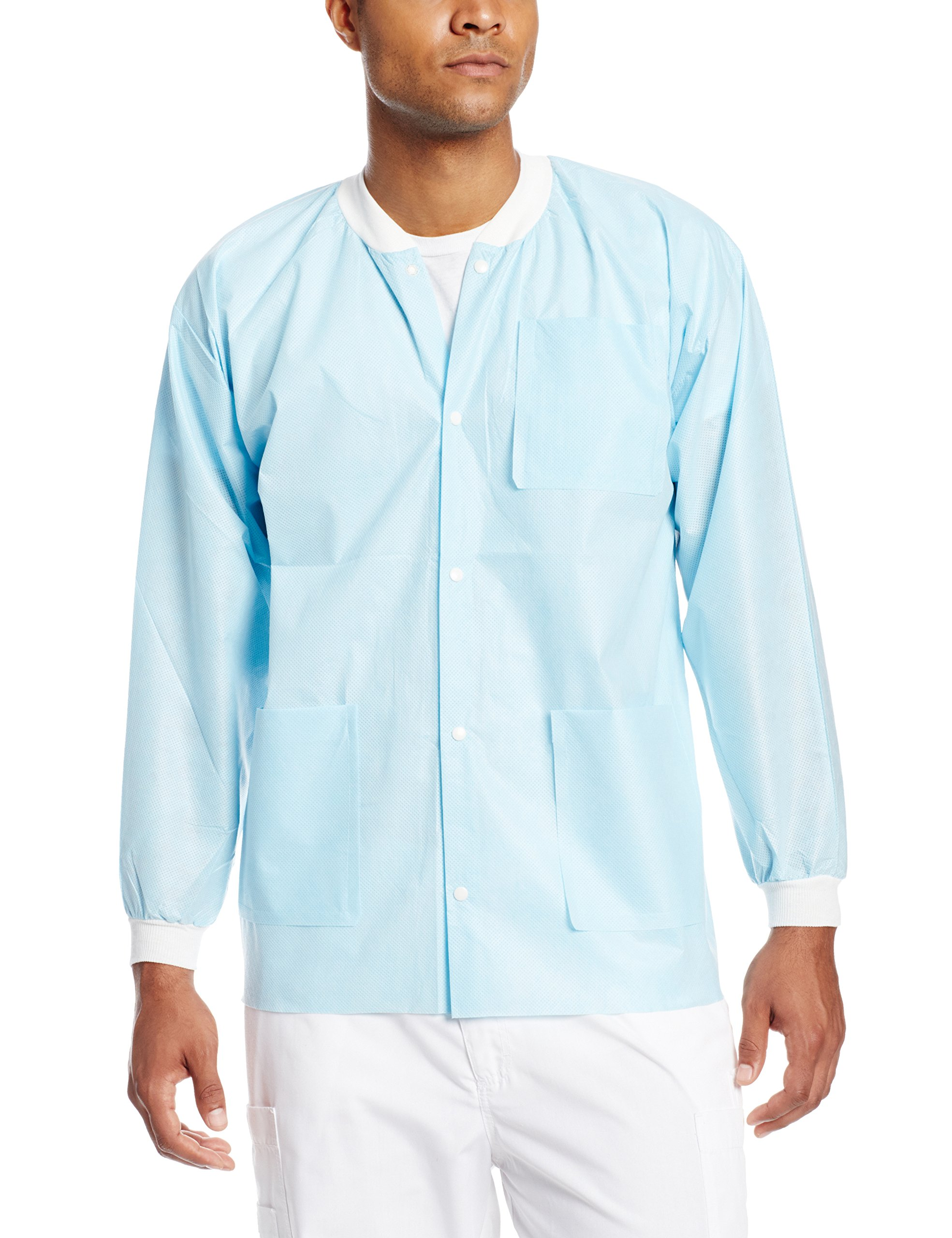 ValuMax 3630SBS Extra-Safe, Wrinkle-Free, Noble Looking Disposable SMS Hip Length Jacket, Sky Blue, S, Pack of 10