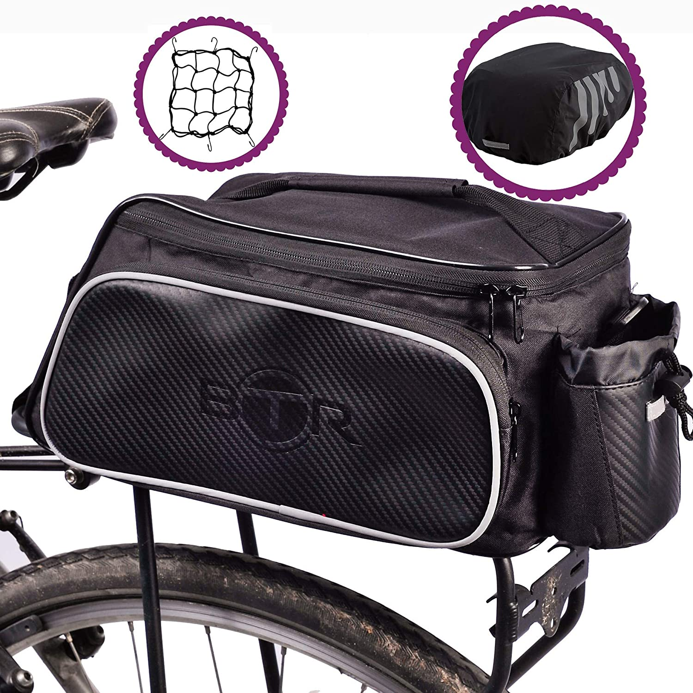 3c439d61b48 BTR Rear Rack Pannier BIke Bag - Black - With Option Of Waterproof Rain  Cover. Universal Fitting Cycling Rear Rack Bicycle Bag  Amazon.co.uk   Sports   ...