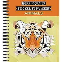 Brain Games - Sticker by Number: Animals - 2 Books in 1