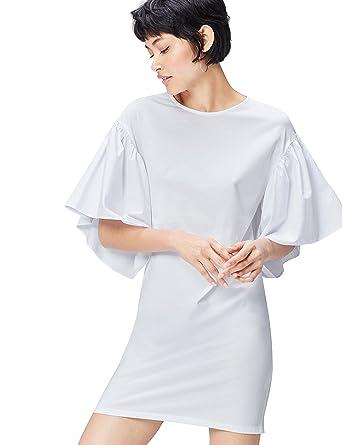 f54143310181 FIND Vestito con Maniche Corte a Sbuffo Donna  Amazon.it  Abbigliamento