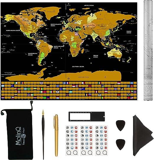 Mapa del Mundo para Rascar   con Banderas   Tamaño Extra Grande ...