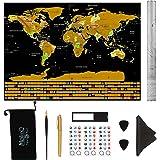 Mappa del Mondo da Grattare, con Bandiere | XXL Extra Large | Tantissimi Accessori inclusi | Un Regalo Perfetto per i Viaggiatori | Nero | 82,5 x 59,5 cm
