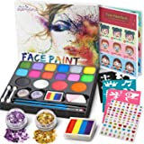 Jojoin 16 Colores Pinturas Cara, Pintura Facial, Maquillaje al Agua para Halloween/Fiestas, con 1 Libro Tutorial, 94…