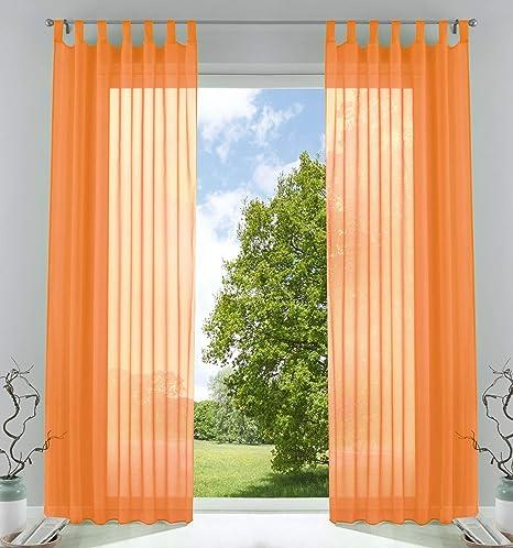 2er-Pack Gardinen Transparent Vorhang Set Wohnzimmer Voile Schlaufenschal  mit Bleibandabschluß HxB 245x140 cmOrange, 61000CN