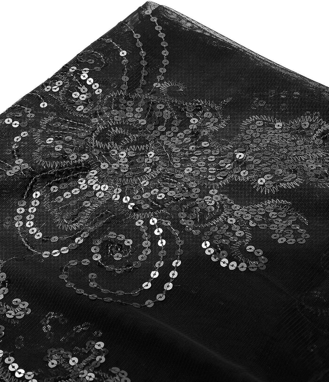 inlzdz Damen Pailletten Umschlagt/ücher Stola f/ür Abendkleid 1920s Retro Schal Hochzeit Party Braut Schal Gatsby Kost/üm Accessoires