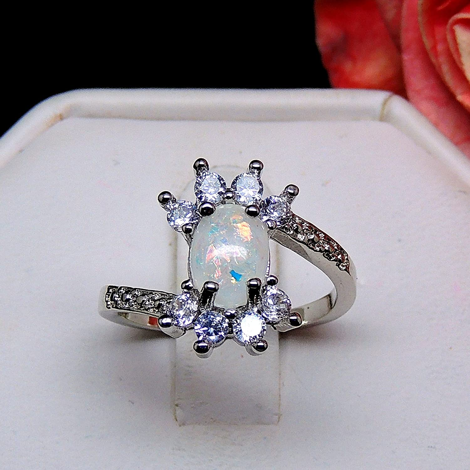 Ginger Lyne Collection Zaire Oval Shape Simulated Fire Opal Clear CZ Ring