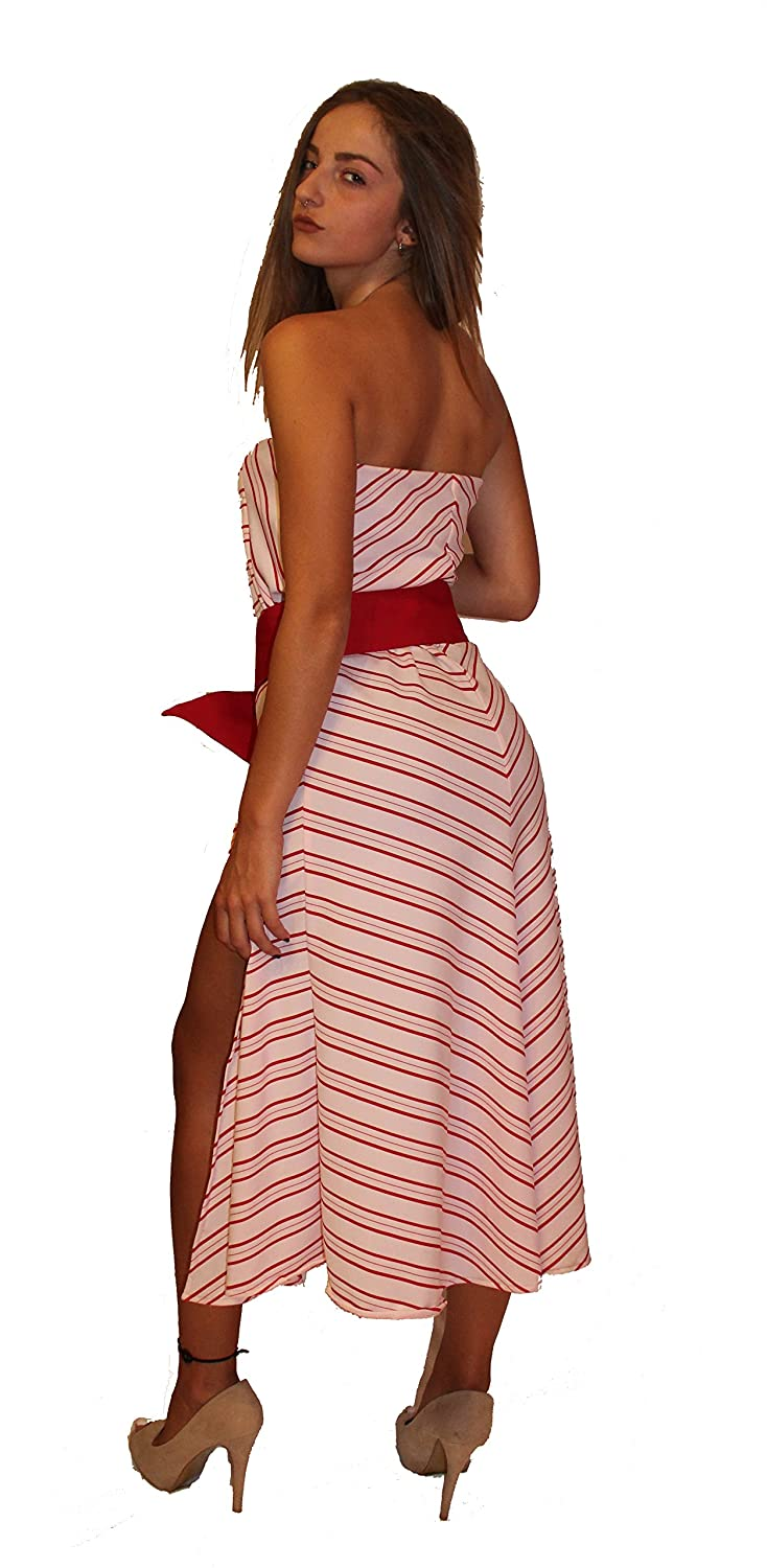 3 piece Strapless midi assymetric dress with leg tear at the front with reddish short and reddish belt with metallic buckle