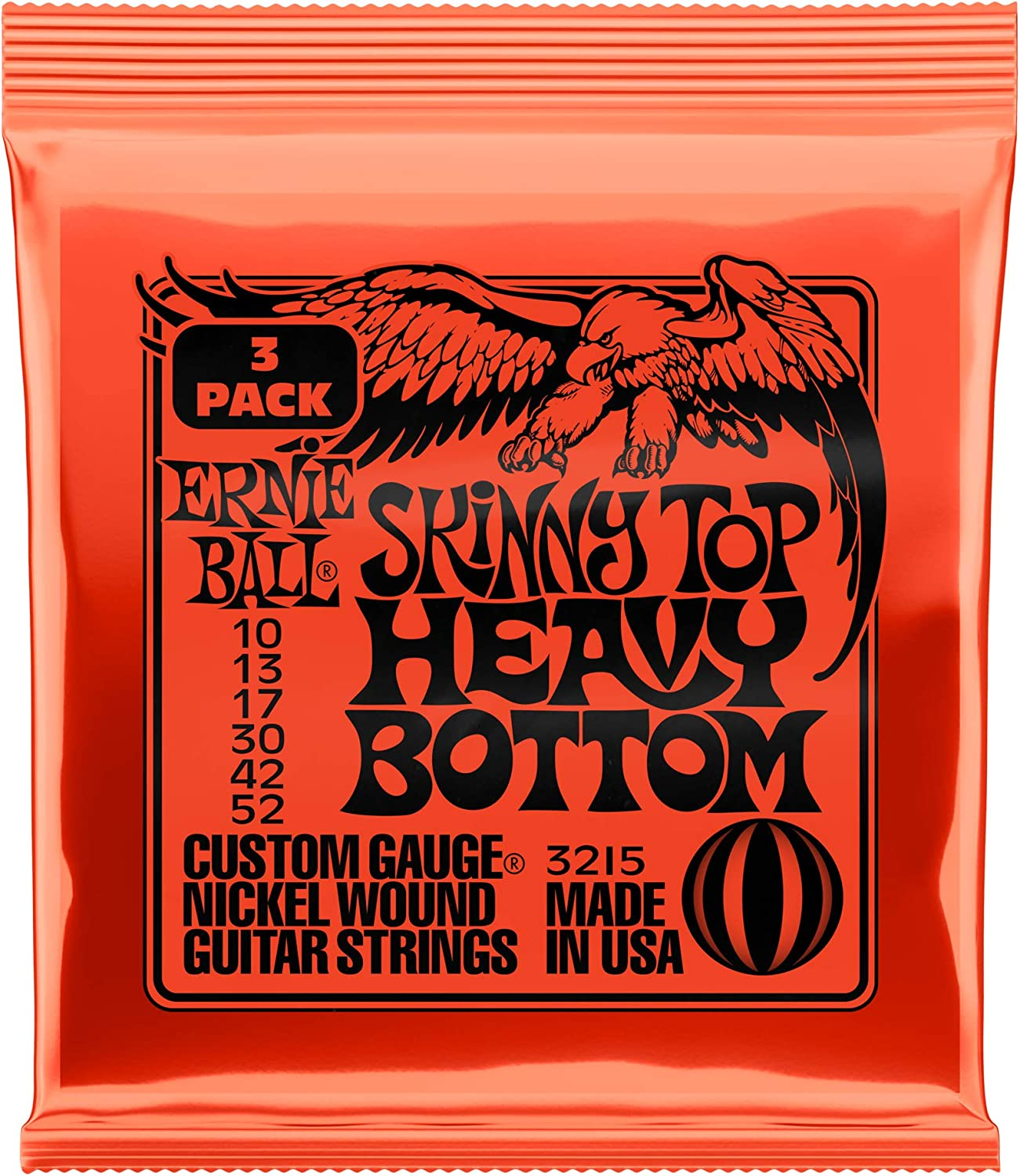 Ernie Ball Skinny Top Heavy Bottom Slinky Nickel Wound Cuerdas para guitarra eléctrica 3 Pack - 10-52 Gauge