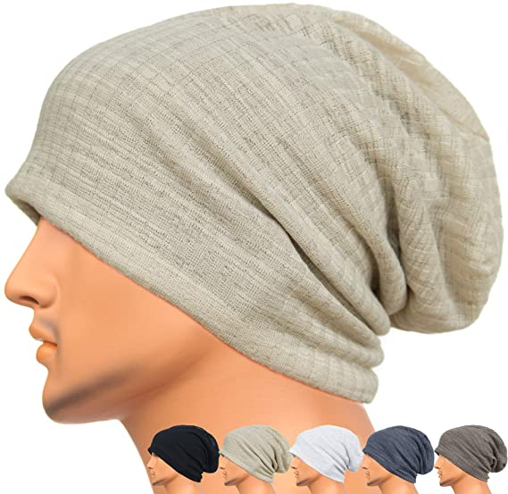 Rayna Fashion Men Women Summer Thin Slouchy Long Beanie Hat Cool Baggy  Skull Cap Stretchy Knit 94bb9221018