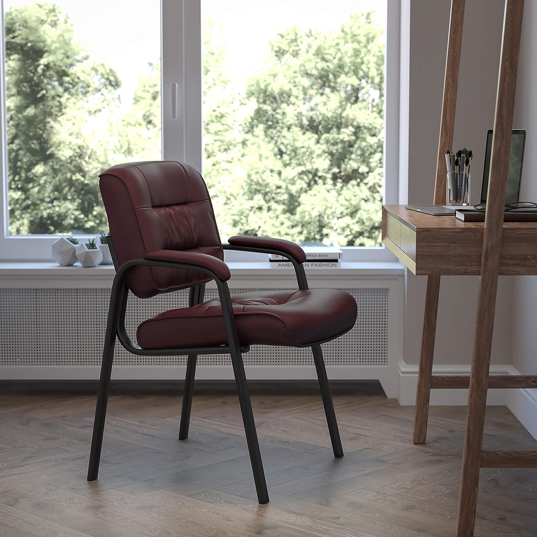 Flash Furniture Leather Side Chair, Burgundy LeatherSoft/Black Frame