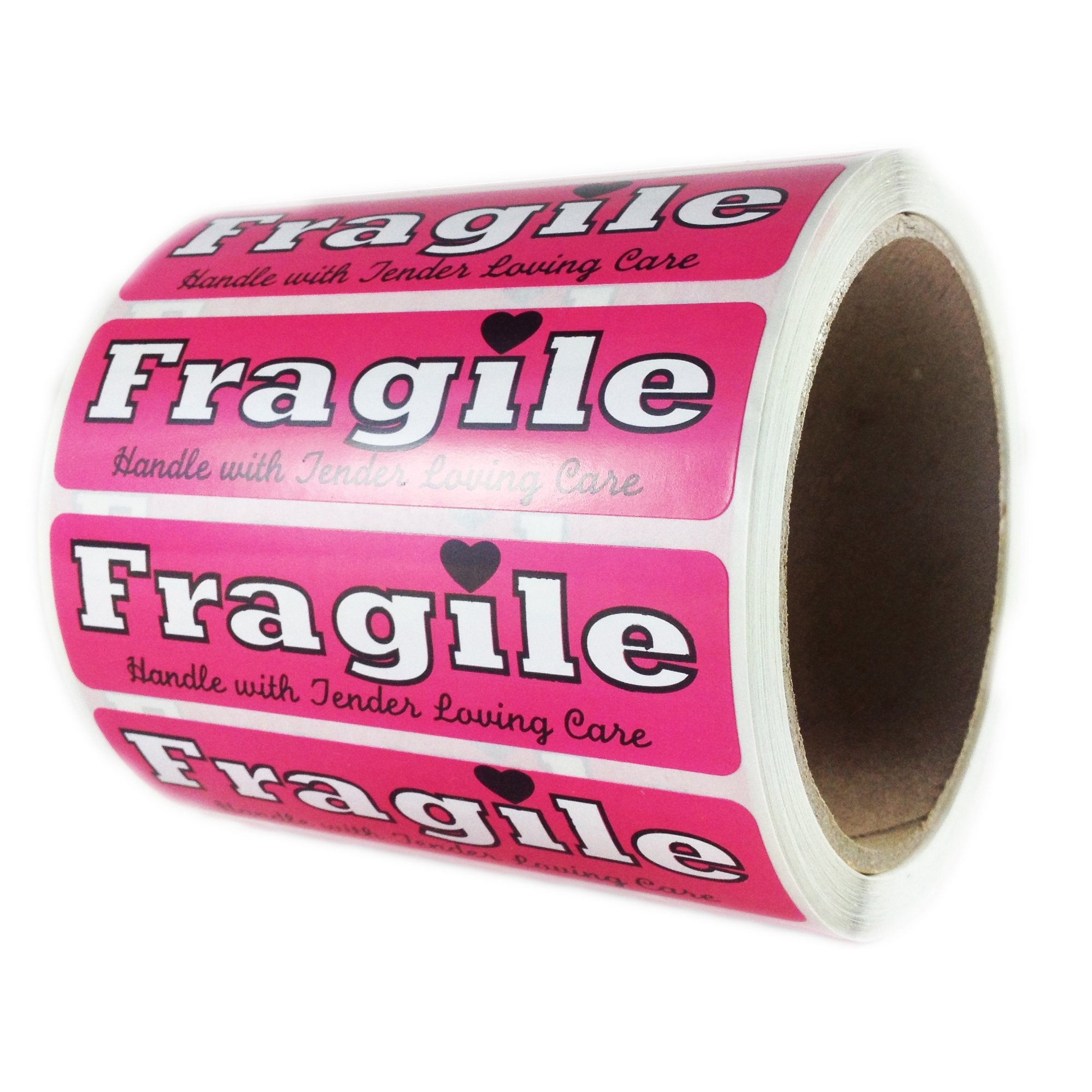 Pink ''Fragile Handle with Tender Loving Care'' Label - 1'' by 4'' - 500 ct
