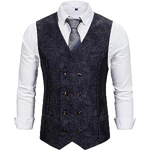 Coofandy Waistcoat Chaleco traje hombre Negro de Vestir ...