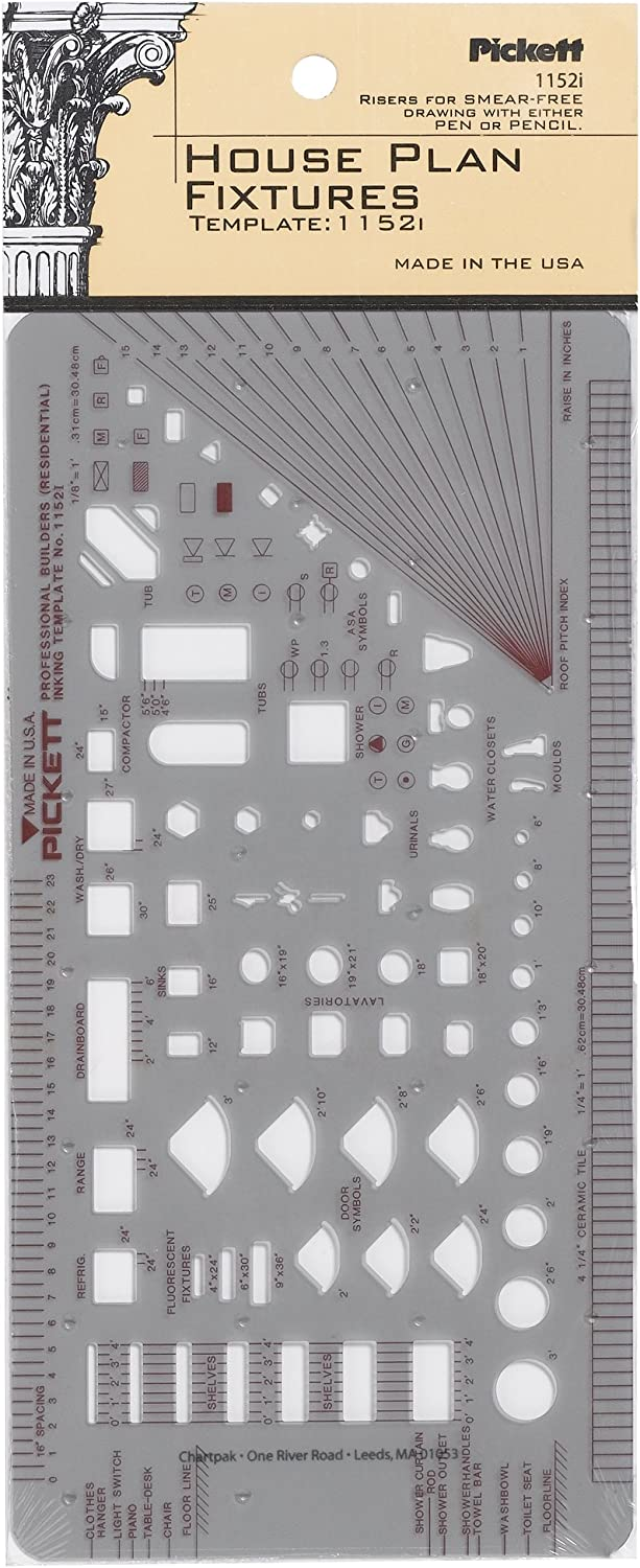 Pickett House Plan Fixtures Kitchen and Bath Template, 1/8 Inch Scale (1152I)