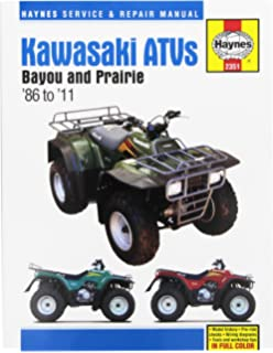 kawasaki bayou 220 300 prairie 300 atvs 86 11 haynes service kawasaki bayou prairie atv haynes repair manual 1986 2011