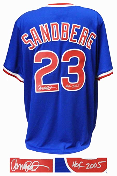 brand new 6c1ca 1fea4 Ryne Sandberg Signed Chicago Cubs Blue Throwback Cooperstown ...