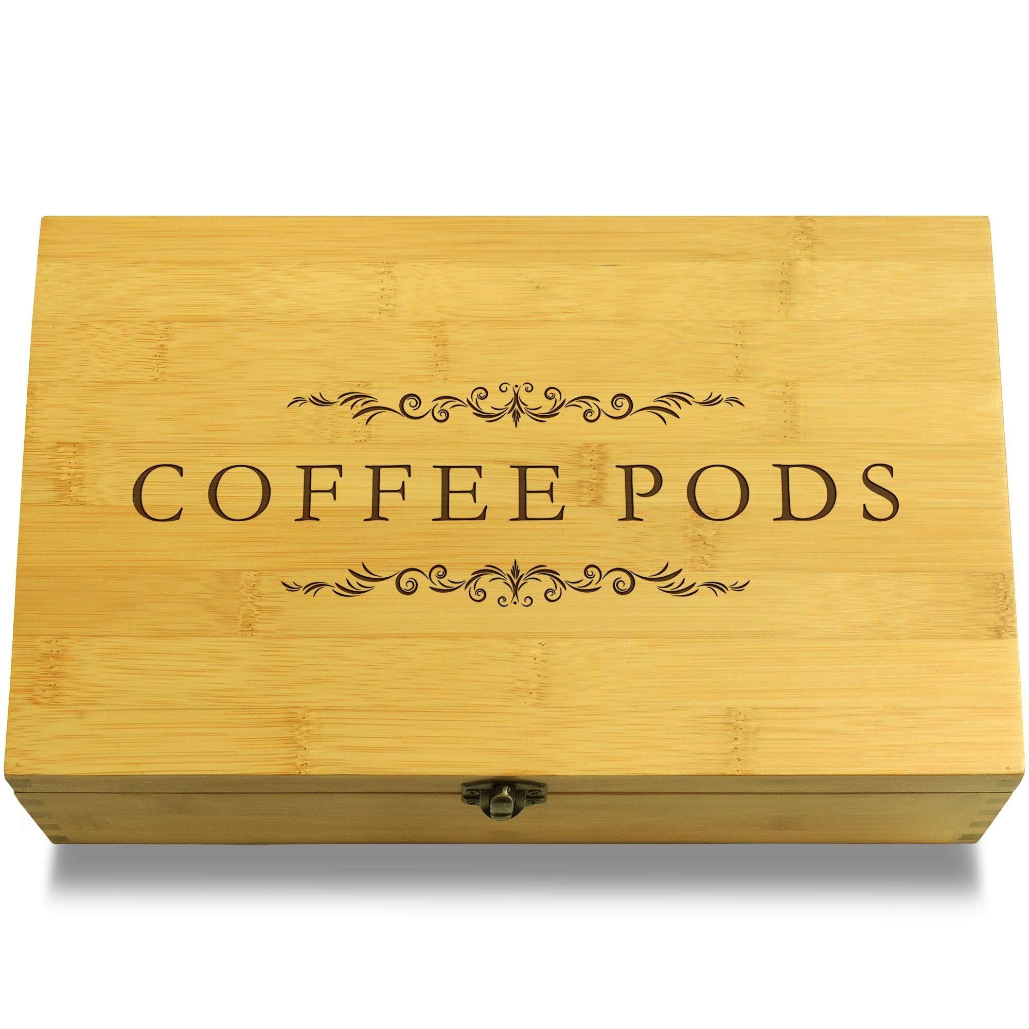 Cookbook People Coffee Pods Decorative Bamboo Wood Multikeep Box -Adjustable Organizer