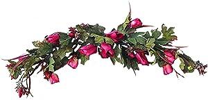 "Wholesale Silk Floral 40"" Long Silk Tulip Swag Wall décor, 7-in, Fuchsia"