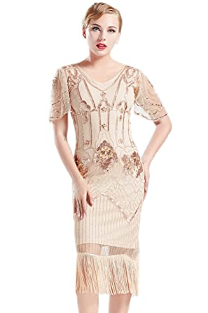 55aa5adf86 BABEYOND 1920s Art Deco Fringed Sequin Dress 20s Flapper Gatsby Costume  Dress